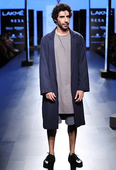 Actor Jim Sarbh, and his curls, helped keep it casual when walking the ramp for Anuj Bhutani.